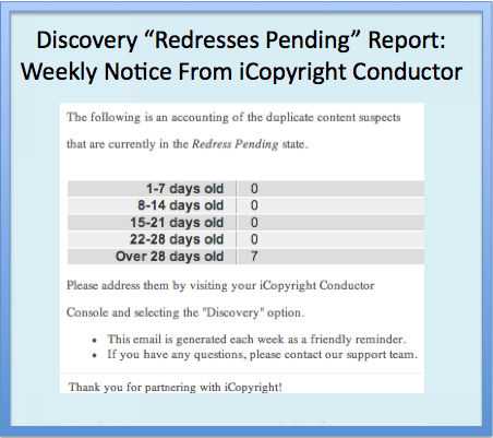 Sample iCopyright Discovery report, showing copyright infringement and duplicate content