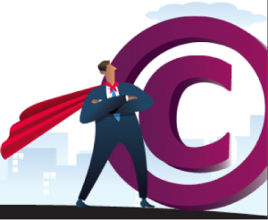 Copyright superhero standing next to copyright symbol