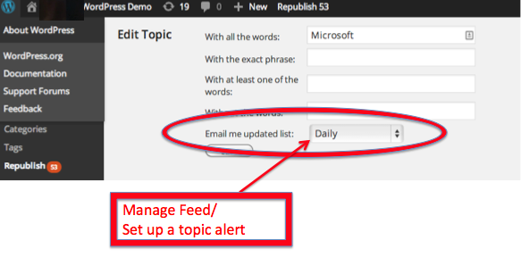 manage a feed and set up topic alerts